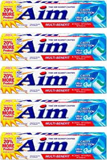 Aim Multi-Benefit Cavity Protection Gel Toothpaste, Ultra Mint 5.50 oz (Pack of 5)