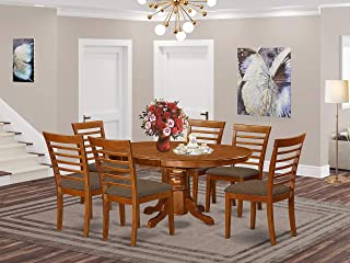 East-West Furniture AVML7-SBR-C mid-century dining table set- 6 Wonderful wood chairs - A Lovely modern dining table- Microfiber Upholstery seat and Saddle Brown Finnish Butterfly Leaf modern dining table