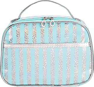 Amazon Brand - Solimo Cosmetic, Makeup & Toiletries Pouch (Glitter; Sky Blue)