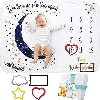 Baby Milstolpe Filt | Fotomatta Nyfödd Pojke eller Flicka, Unisex | Baby Shower Gåva | Måne & Stjärntema | Mjuk & Tjock | ...