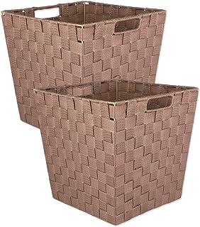 DII Lot de 2 poubelles trapézoïdales en nylon tissé pour la maison, le bureau, les placards, et les besoins de rangement q...