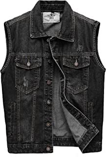 JYG Men's Casual Sleeveless Denim Vest Unlined Motorcycle Jean Jacket