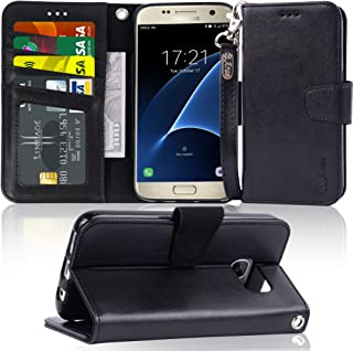 Arae Case Compatible for Samsung Galaxy s7, [Wrist Strap] Flip Folio [Kickstand Feature] PU Leather Wallet case with ID&Credit Card Pockets (Black)