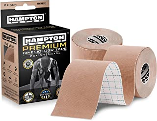 (2 Pack) Premium Kinesiology Tape | Athletic Tape Supports & Protects Muscles, Knees, Shoulders & Plantar Fasciitis | Waterproof & Hypoallergenic | Beige Uncut Kinesio Tape