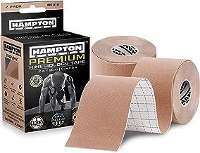 (2 Pack) Premium Kinesiology Tape | Athletic Tape Supports & Protects Muscles, Knees, Shoulders & Plantar Fasciitis | Waterproof & Hypoallergenic | Beige Uncut Kinesio Tape