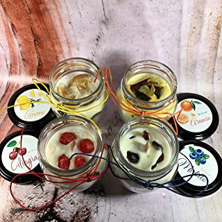 4 candele in piccoli orci da 106 ml ai profumi di arancio, ciliegia, mirtillo e limone, in cera di soia con stoppino in le...