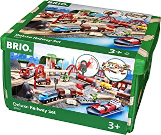 Brio World 33052 Deluxe Railway Set | Wooden Toy Train Set for Kids Age 3 and Up