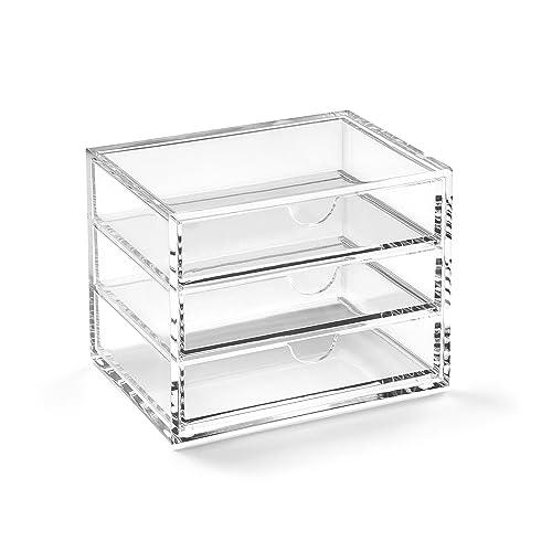 Osco Small Clear Acrylic Triple Drawer