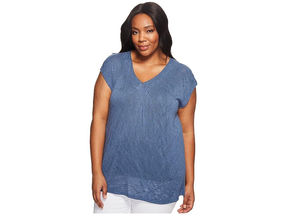 B Collection by Bobeau Plus Size Janet Front Pleat T-Shirt (Dusty Blue) Women's T Shirt