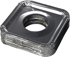 """Aluminum Foil Square Gas Stove Burner Covers – Pack of 100 – Disposable Bib Liners for Kitchen Gas Range Top - Keep Your Gas Range Clean with DCS Deals Drip Pans - 8.5 x 8.5 x .5"""" Inch"""
