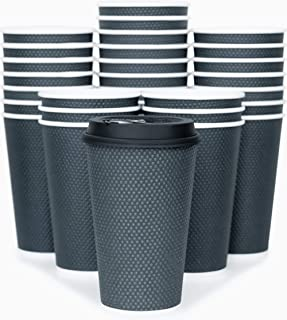 Glowcoast Disposable Coffee Cups With Lids - 16 oz To Go Coffee Cup With Lid (70 Set). Large Togo Travel Paper Hot Cups Insulated For Hot and Cold Beverage Drinks, No Sleeves Needed (Dusk Grey)