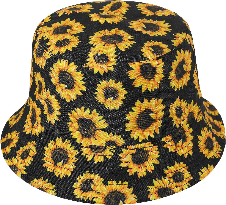 Unisex Funky Floral Plant Rainforest Print Canvas Bucket Hat Fishmen Cap for Women Men -15