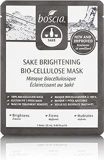 boscia Sake Brightening Bio-Cellulose Mask , Natural Sake Hydrating Face Mask to Brighten and Firm Skin, 1 Face Sheet Mask