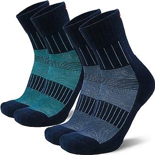 Calcetines Antiampollas de Running Deportivo para Hombre y Mujer, Antihumedad, Acolchados, para Correr, Trail, Larga Distancia, maratón y más, Pack de 2, Negro, Azul