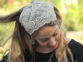 Stunning Cream Stretchy Lace Headband Bandana, Tichel, Head Covering, Scarf, Half Coveing, Pre-tied, Loss Hair