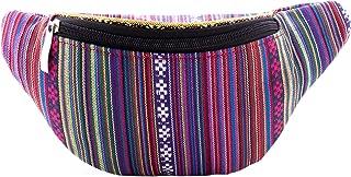 Fanny Waist Pack Rave Bag - Hippie Boho Festival Phanny Bum Packs - Guatemalan Print - Purple