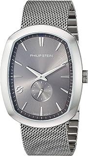 Philip Stein Men's Modern Swiss-Quartz Watch with Stainless-Steel Strap, Silver, 22 (Model: 72-CPLT-MSS)