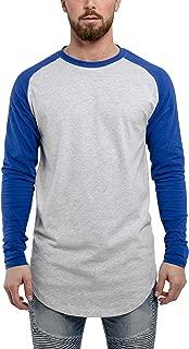 Blackskies Baseball Long Sleeve Men's T-Shirt | Curved Oversized Fashion Longline Basic Raglan L/S Long Tee - S M L XL