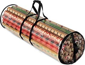 """Christmas Wrapping Paper Storage Bag - Fits 14 to 20 Standard Rolls Upto 40""""- Slim Design Underbed Wrapping Paper Storage Container or Closet Storage Gift Wrap Organizer, Water Proof PVC Fabric, Clear"""