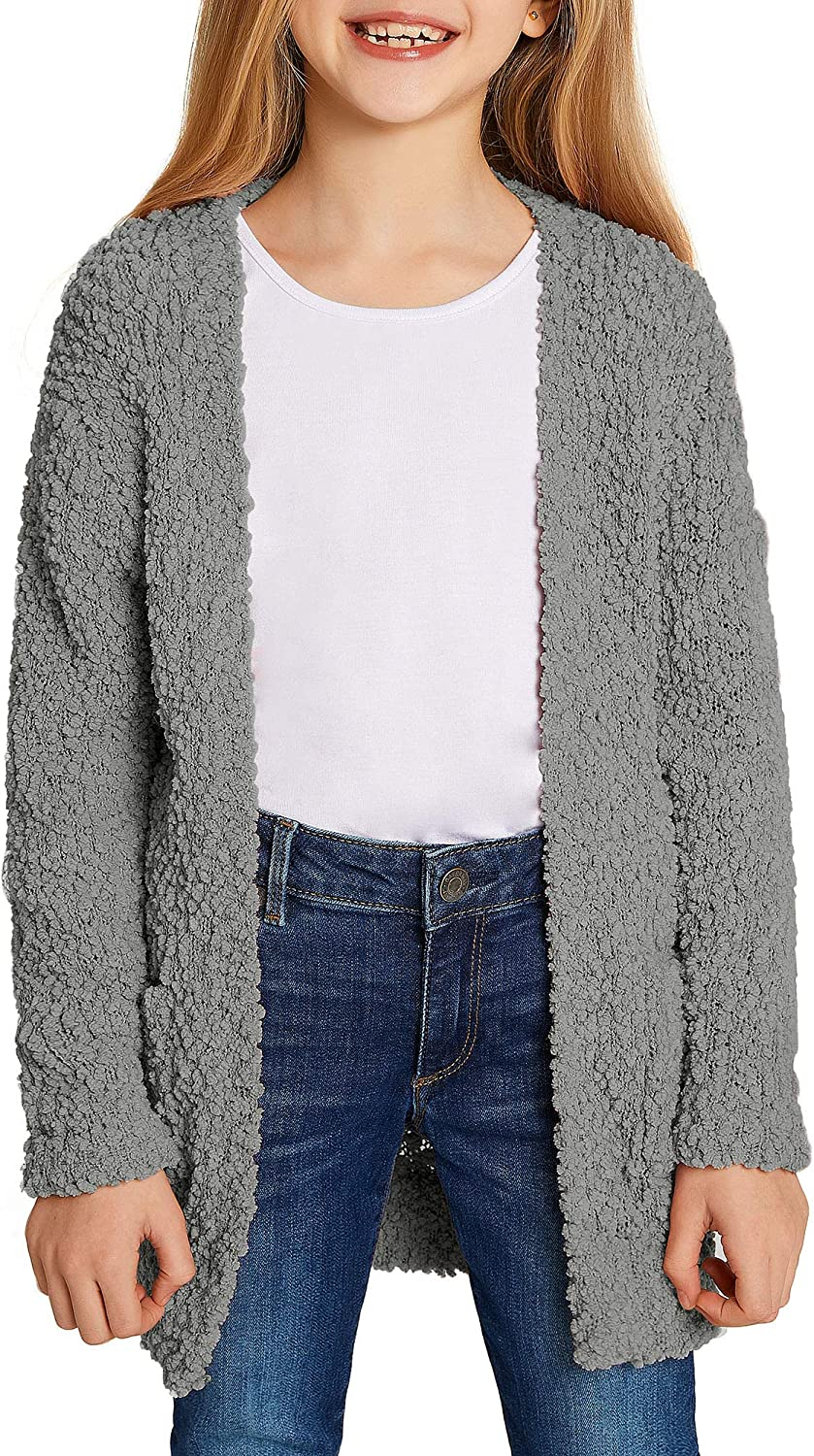 LookbookStore Girls Open Front Genuine Free Shipping Knit Sweater Pocketed Cardigan Ou Luxury goods