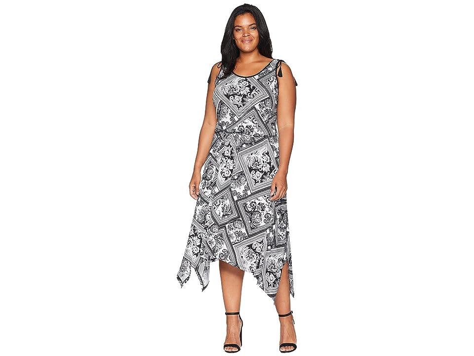 LAUREN Ralph Lauren Plus Size Jersey Handkerchief Dress (Soft White/Polo Black) Women