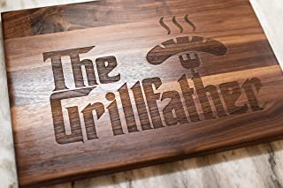 Gifts For Dad - Gift For Men - USA Made Wood Cutting Board - The Grillfather Cutting Board, perfect gift for Dad, Stepfather gift, and grandfather gift. Handmade USA Cutting Board