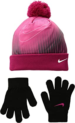 Graphic Pom Beanie & Gloves Set (Big Kids)