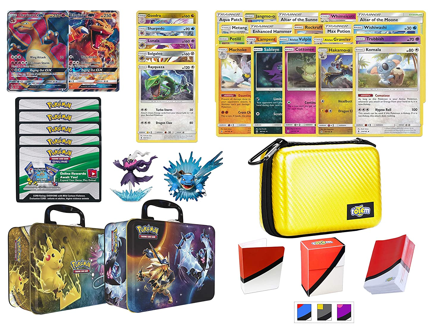 Totem World Charizard GX Premium Collection with Yellow Card Case, 100 Sleeves, Deck Box, Mini Binder and Figures in Collector Chest
