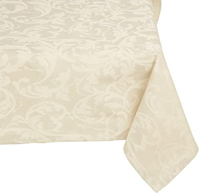 Mahogany Ivory Scroll Square Jacquard Cotton Tablecloth, 60-Inch by 60-Inch