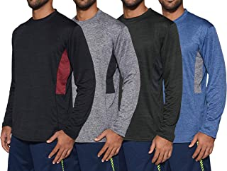 4 Pack: Men's Dry-Fit Moisture Wicking Performance Long Sleeve T-Shirt, UV Sun Protection Outdoor Active Athletic Crew Top