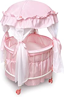 Badger Basket Royal Pavilion Round Doll Crib with Canopy and Bedding (fits American Girl Dolls)