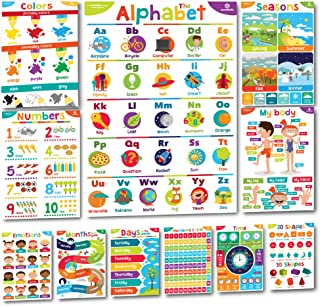 Sproutbrite Educational Posters and Classroom Decorations for Preschool - 11 Early Learning Charts for Pre-K, Kindergarten, Daycares and Home School