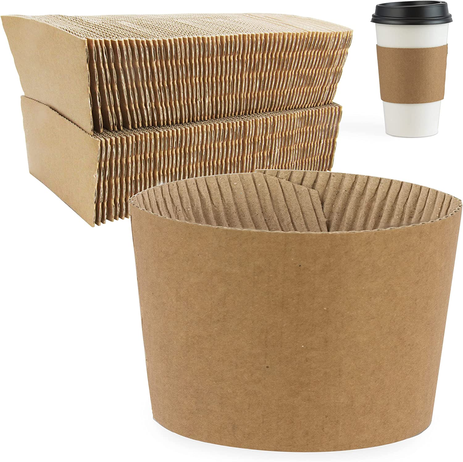 [100 Pack] Kraft Coffee Cup Sleeves - Brown Disposable Corrugated Cardboard Paper Jacket, Holds Hot and Cold Drinks, Espresso Coffee Milk Tea Beverage Insulator and Hand Protection