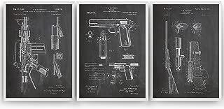 Gun Patent Art Prints - Set Of 3 - M16-1911 - Bolt Gun - Gift Merchandise Poster Vintage Old Original Blueprint Rifle Firearms Collector Owner Wall Decor - Frame Not Included