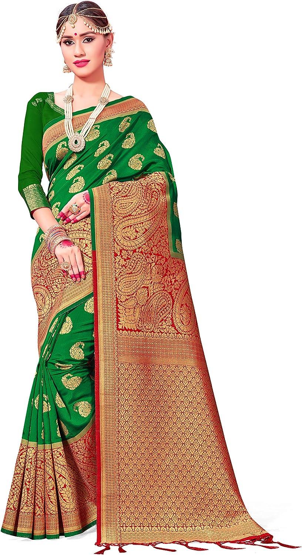 Indian Wedding Diwali Gift Sari Combo Pack of Two Sarees for Women Banarasi Art Silk Woven Saree