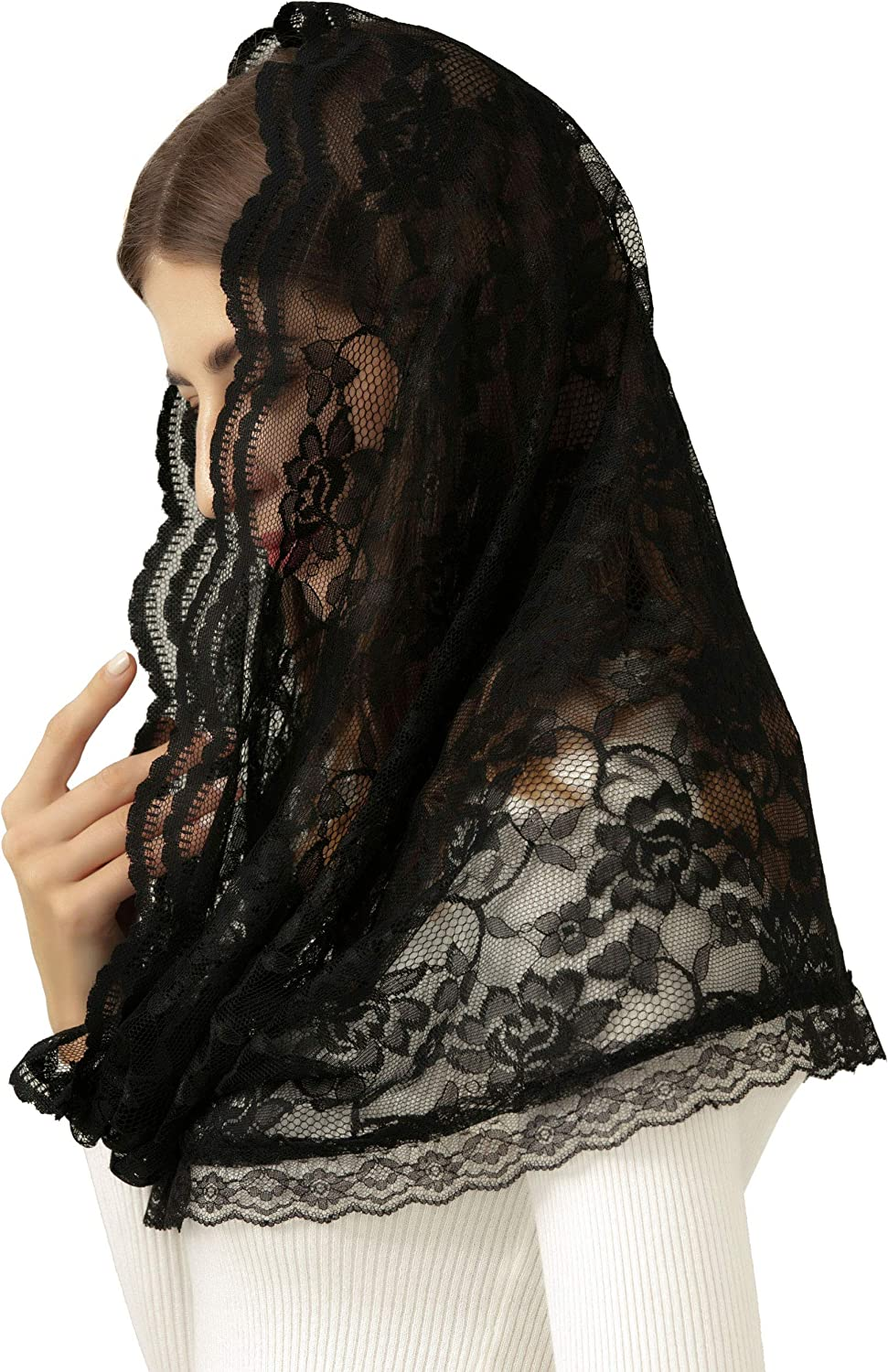 Pamor Infinity Floral Veils Scarf Veil Head Covering Latin Mass Lace Mantilla with Free Hairclip
