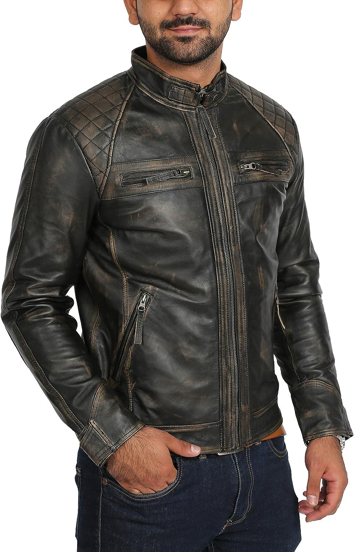 Mens Lambskin Leather Biker Style Casual Jacket Slim Fit Bowie Black Rub Off