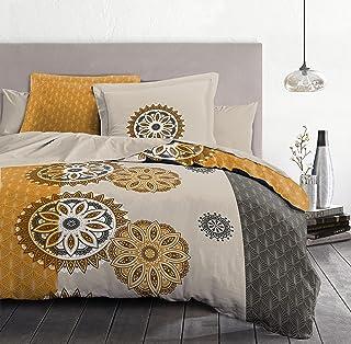 Home Passion | Housse de Couette - 3 Pièces | 100% Coton - 57 Fils | 2 Personnes - 220x240 cm |Yucatan - Gris ET Ocre Orange