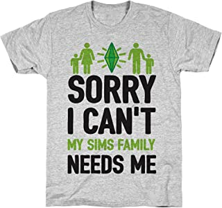 LookHUMAN Sorry I Can't My Sims Family Needs Me Athletic Gray Men's Cotton Tee