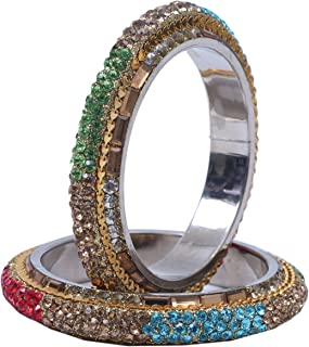 Indian Traditional Party wear Brass Bangles Bracelet for Women - set of 2 (Color Available)