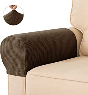 CHUN YI Set of 2 Stretch Polyester Sofa Armchair Armrest Covers Slipcovers Furniture Protector Spandex Fabric Jacquard Anti-Stain Washable Couch Arm Cover Slipcover (Armrest, Coffee)