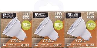 SILVER ELECTRONICS Pack de 3 Bombillas LED ECO Dicróica 5W Casquillo GU10 Temperatura de color 3000K (Luz cálida) 381 lumens. Eficiencia energética: A+, 14408103