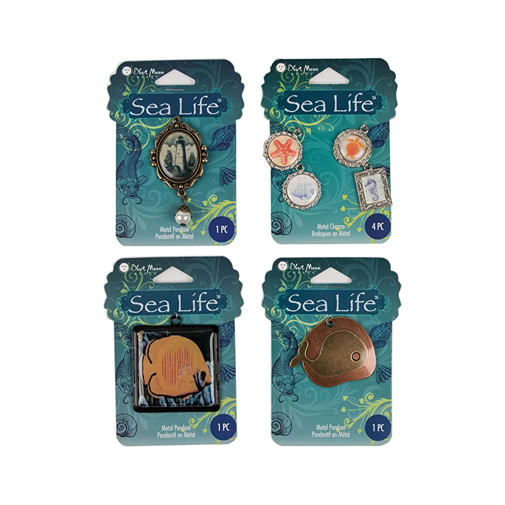 Blue Moon Beads Sea Life Bag Pendants, 4-Pack