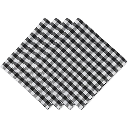 A LuxeHome Black and White Modern Contemporary Mini Polka Dot Lunch Dinner Napkins 17 x 17 Set of 4