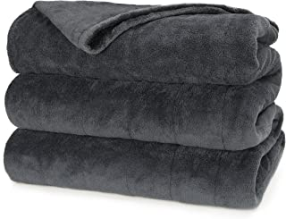 Sunbeam Heated Blanket | Microplush, 10 Heat Settings, Slate, Queen – BSM9KQS-R825-16A00