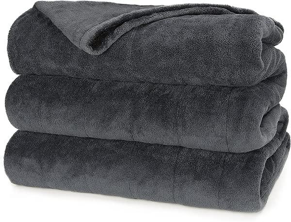 Sunbeam Heated Blanket Microplush 10 Heat Settings Slate Queen