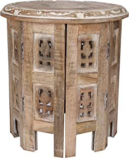 Solid Wood Hand Carved Accent Table, Side Table, Entryway Table, Wooden End Table, Living Room Side Table for Magazines, Octagonal Wooden Table - 12 Inch Round Top x 12 Inch High - White Wash