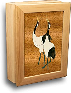 Wood Art Crane Box - Handmade USA - Unmatched Quality - Unique, No Two are The Same - Original Work of Wood Art. A Crane Gift, Ring, Trinket or Wood Jewelry Box (#4500 Cranes Call 4x5x1.5)