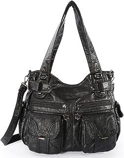 Angelkiss Women's Handbag Large Double Zipper Multi Pocket Washed Shoulder bag Designer Handbags for Women