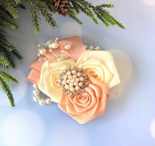 Abbie Home Rhinestone Pearls Boutonniere Silk Rose for Wedding Prom Party Brooch Pin with Jewelry in Blush Pink and White (Rose Gold Corsage)